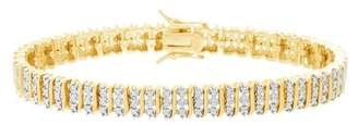Lumineux Ladies Diamond Accent Tennis Bracelet in Yellow Gold Plated Brass