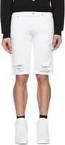 Versus White Denim Ripped Shorts