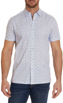 Robert Graham Ambrogi Dot Stripe Short Sleeve Tailored Fit Shirt