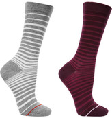 Falke Set Of Two Striped Cotton-blend Socks - Burgundy