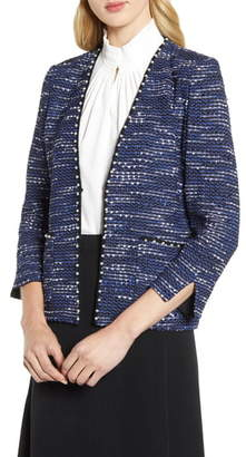 Ming Wang Pearl Trimmed Tweed Jacket