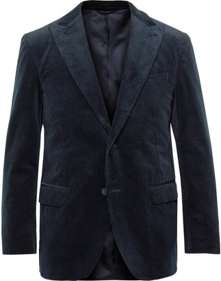 Denis Frison Navy Cotton-Corduroy Suit Jacket