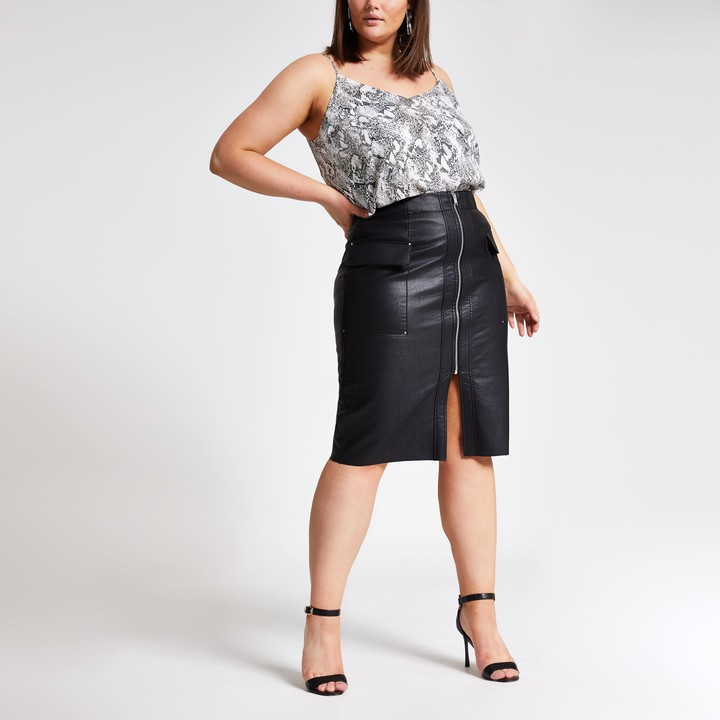 River Island Womens Plus Black faux leather utility pencil skirt