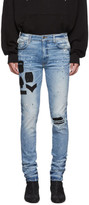 Amiri Indigo Painted Military Patch Jeans