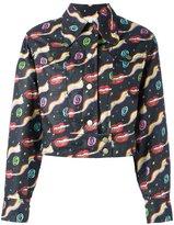 Olympia Le-Tan smoking lips print jacket - women - Linen/Flax - 36