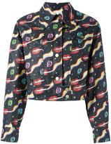 Olympia Le-Tan smoking lips print jacket - women - Linen/Flax - 40