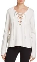 Pam & Gela Side Slit Lace-Up Sweatshirt