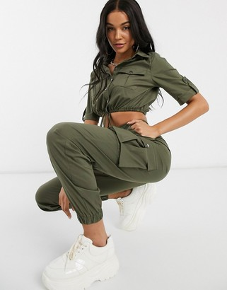 Parisian cargo trousers with cuffed trousers co-ord-Green