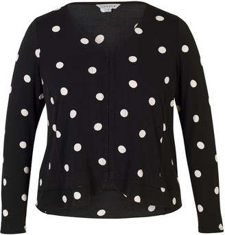 Chesca Spot Print Hook & Bar Trim Jersey Top