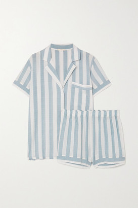 Eberjey Umbrella Stripes Cotton-blend Voile Pajama Set - Sky blue