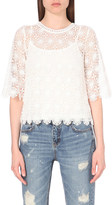 Mo&Co. Cropped geometric-lace top