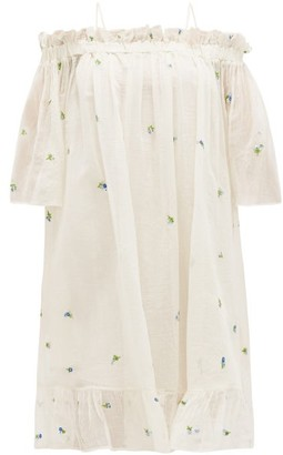 Anaak - Garden Floral-embroidered Cotton-blend Gauze Dress - White Print