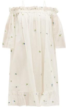 Anaak - Garden Floral-embroidered Cotton-blend Gauze Dress - Womens - White Print