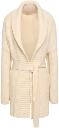 MICHAEL Michael Kors Belted Ribbed Wool And Alpaca-blend Cardigan