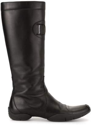 Christian Dior Pre-Owned embossed logo knee-high boots