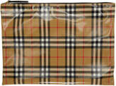 Burberry Tan Coated Check Pouch