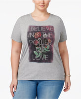 Disney Beauty and the Beast Trendy Plus Size Cotton Love Graphic T-Shirt