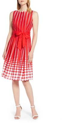 Anne Klein Octagon Print Fit & Flare Cotton Dress