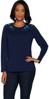 Denim & Co. Perfect Jersey Round Neck Long Sleeve Embroidered Top
