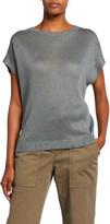 Brunello Cucinelli Linen-Silk Sequined Cap-Sleeve Sweater