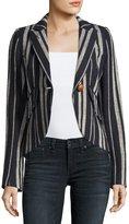 Smythe Striped Linen One-Button Blazer, Blue
