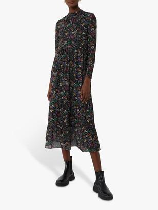 Warehouse Floral Mesh Midi Dress, Multi