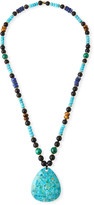 Nest Jewelry Long Beaded Turquoise Pendant Necklace w/ Mixed Stones