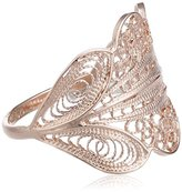 Wouters & Hendrix Women's Rose Gold Plated 925 Sterling Silver Filigrane Leaf Shaped Ring - Size - Q 1/2