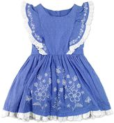 Nannette Girls 4-6x Nanette Embroidered Swiss Dot Dress