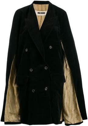 UMA WANG cape-detailed coat