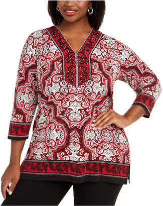 JM Collection Plus Size Rhinestone Embellished Printed Top
