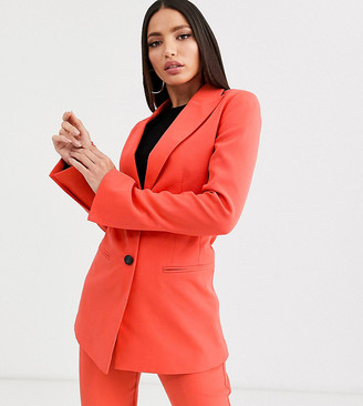 Asos Tall DESIGN Tall pop waisted suit blazer-Red