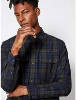 Burton Mens FōR Navy and Green Check Oversized Shirt