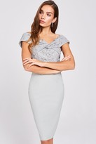 Little Mistress Lissa Waterlily Twist-Front Midi Dress