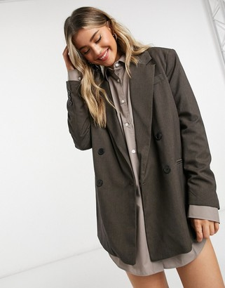 Bershka double breasted oversized blazer in chocolate brown
