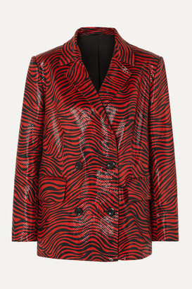 Stand Studio Pernille Teisbaek Cassidy Double-breasted Zebra-print Faux Leather Blazer - Red