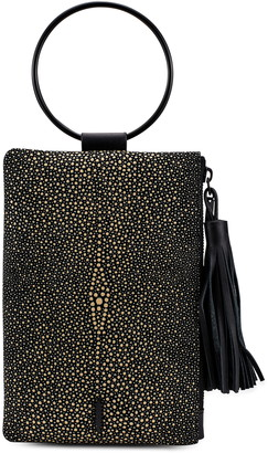 THACKER Nolita Ring Handle Stingray Embossed Leather Clutch