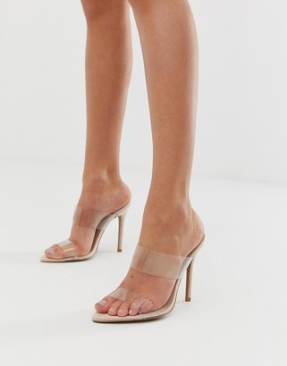 Qupid clear stiletto heeled sandals