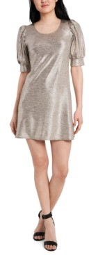 MSK Petite Foil-Knit Puff-Sleeve Dress