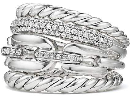 David Yurman Wellesley Four-Row Ring with Diamonds