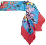 Gucci Flora Snake Printed Silk-twill Scarf - Red