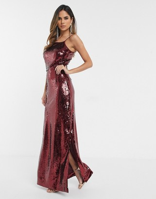 UNIQUE21 Unique 21 square neck sequin maxi dress in red