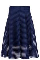 Quiz Navy Mesh Ribbed Midi Skirt