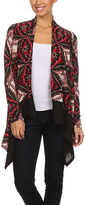 Black & Red Tapestry Open Cardigan