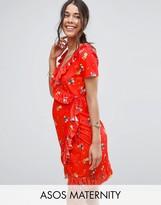 Asos Print Frill Wrap Mini Dress