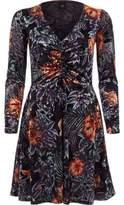 River Island Womens Purple floral burnout knot front mini dress