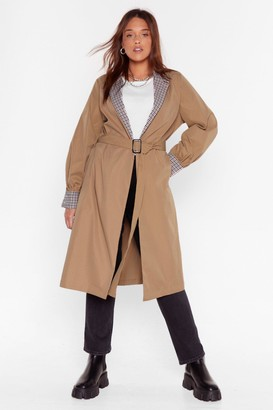 Nasty Gal Womens Plus Size Check Trim Belted Mac - Camel