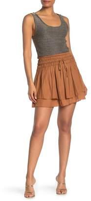 Mustard Seed Shirred Layer Hem Mini Skirt