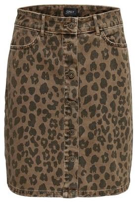 Dorothy Perkins Womens **Only Multi Colour Leopard Print Denim Skirt, Multi Colour