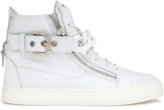 Giuseppe Zanotti London Chain-embellished Leather High-top Sneakers